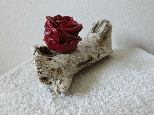 Treibholz Drift Wood mit roter Wachsrose with red rose of wax